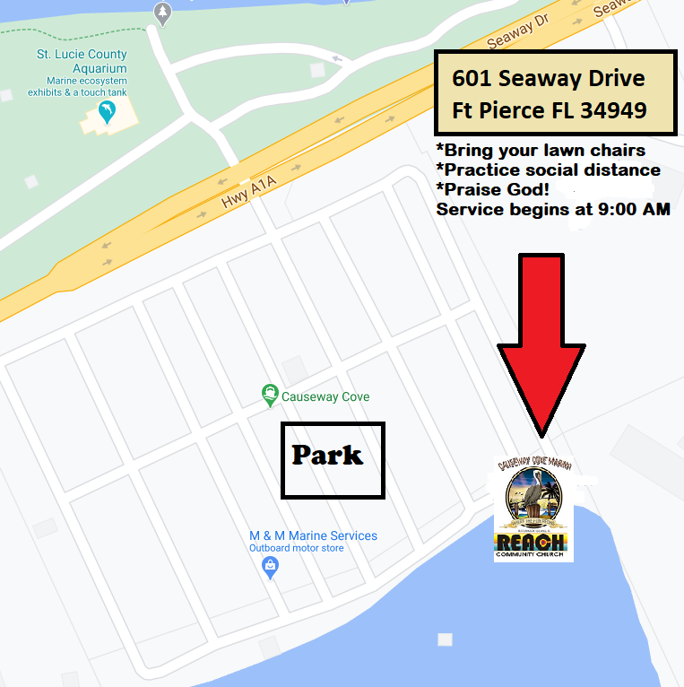 Map of Causeway Cove showing location of Reach Church meetings.